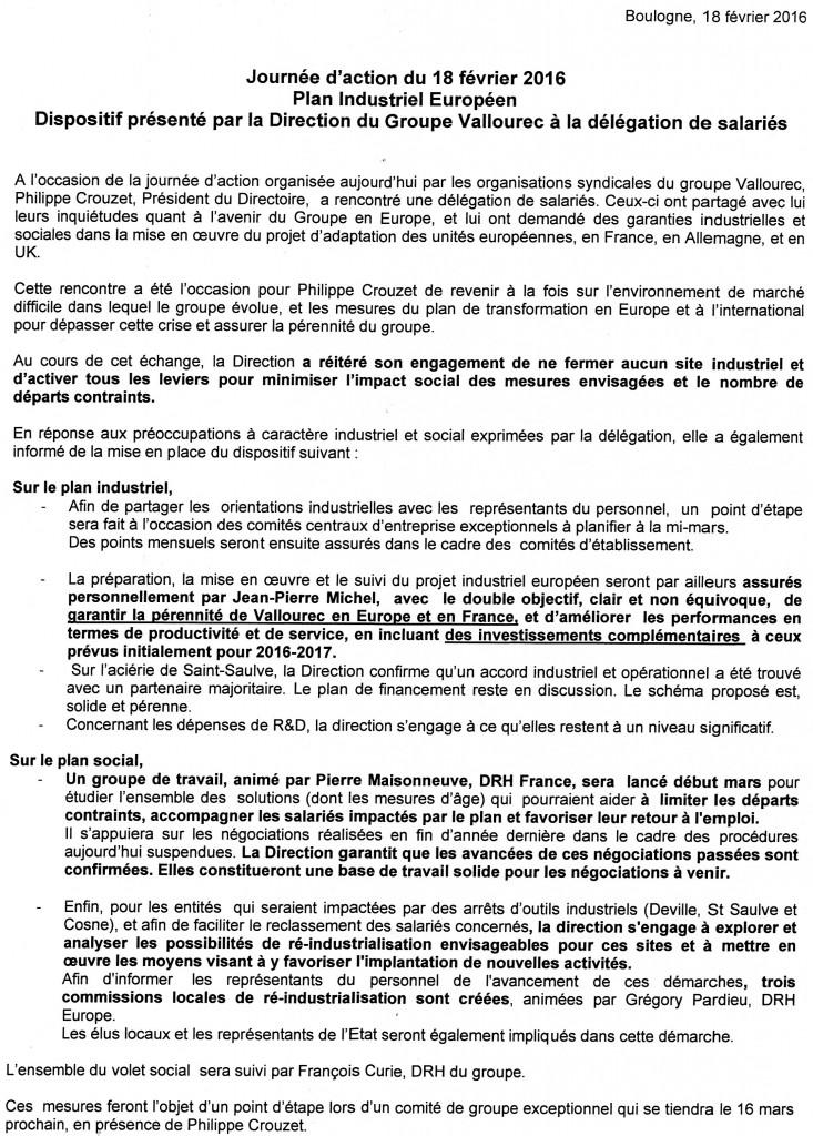 texte direction Vallourec 18 mai 2016
